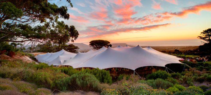 Waterproof stretch tent on farm
