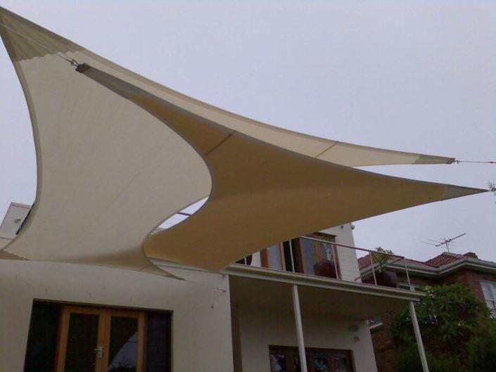 Custom shade sail at holiday home