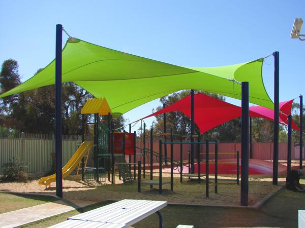 Large shade sails over playground